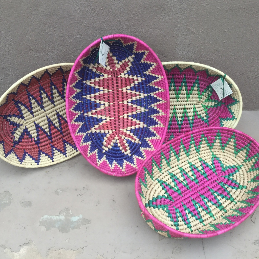 """Fiesta Mexican Oval Basket Cream, Purple and Red 13.5"""" x 10"""" x 2.5"""""""