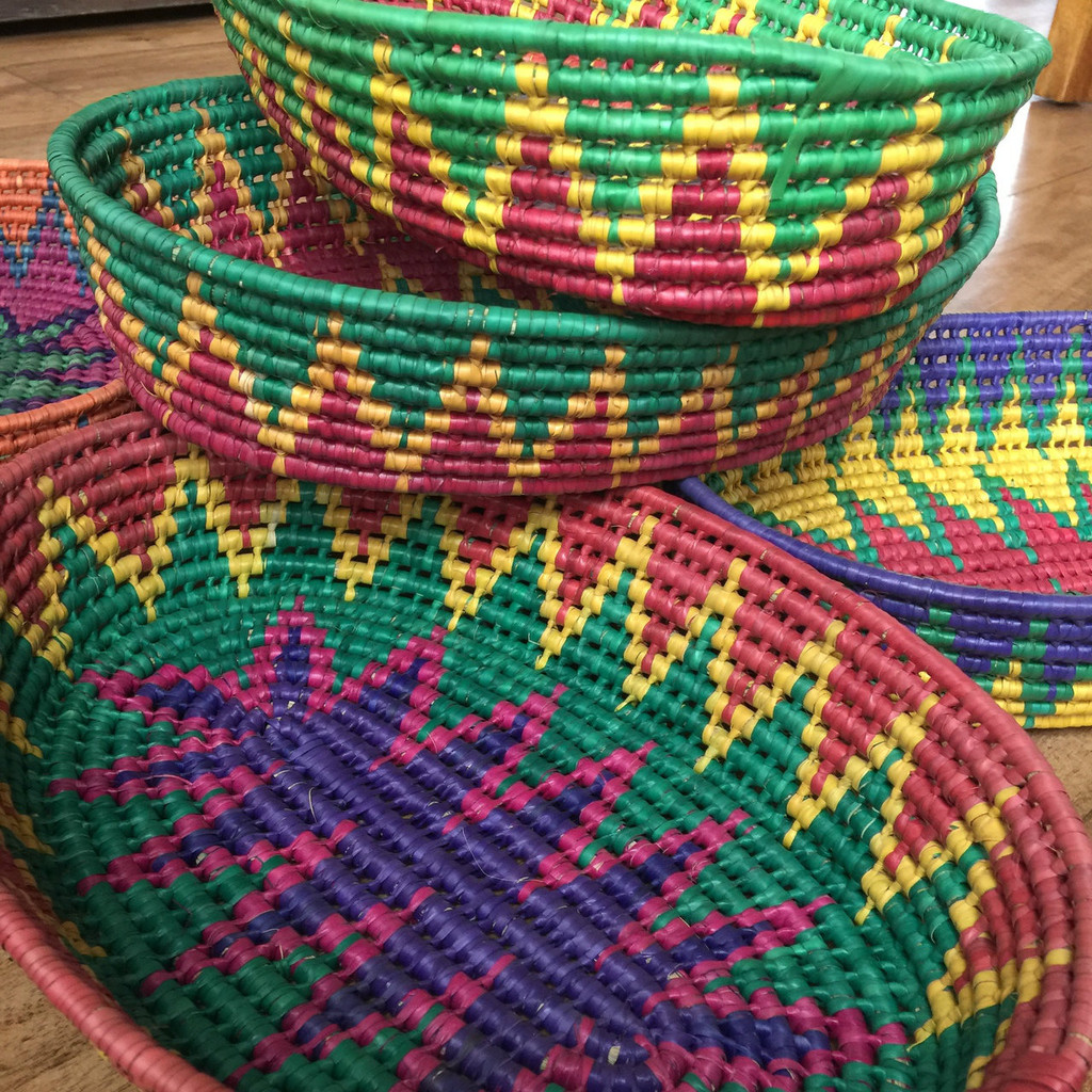 stacks of colorful Mexican baskets, traditional