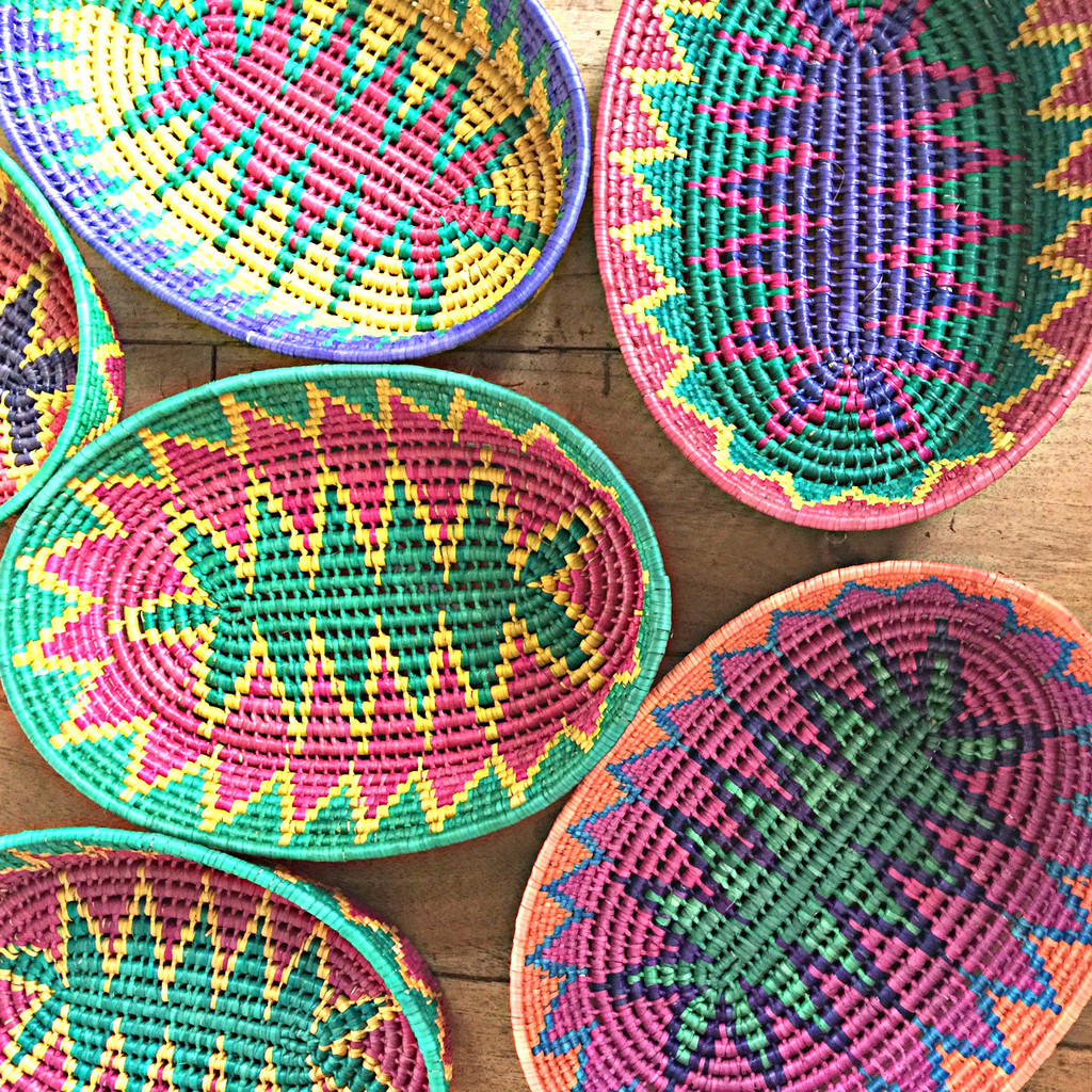 living with baskets from Mexico colorful fiesta