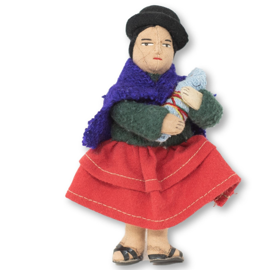 """Bolivian Cholita doll wearing traditional Hat and Shawl carrying her Baby 5"""" x 2"""" x 1.5"""""""
