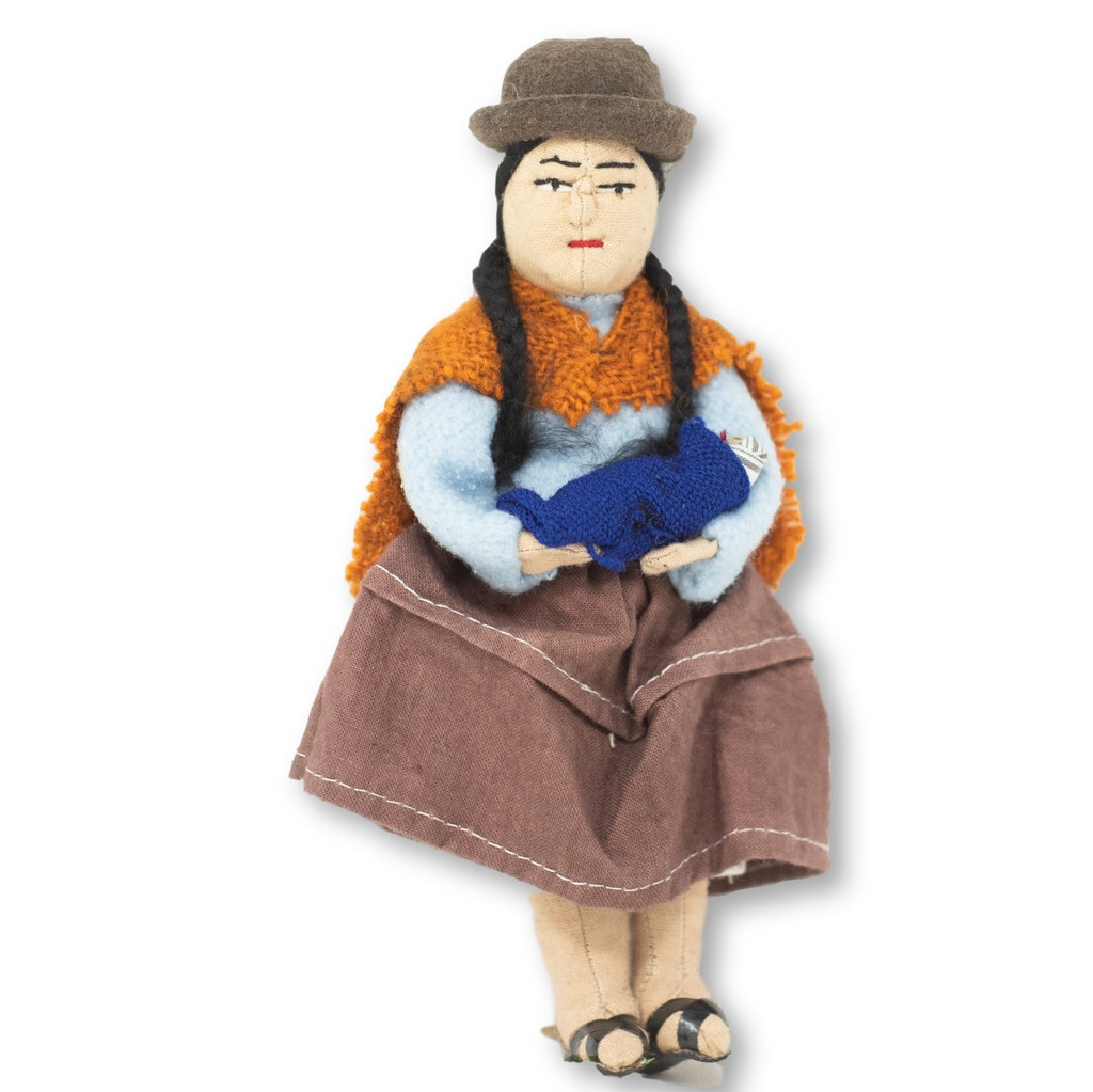 unusual to see a Bolivian woman Carrying a baby in her arms, handmade cotton doll