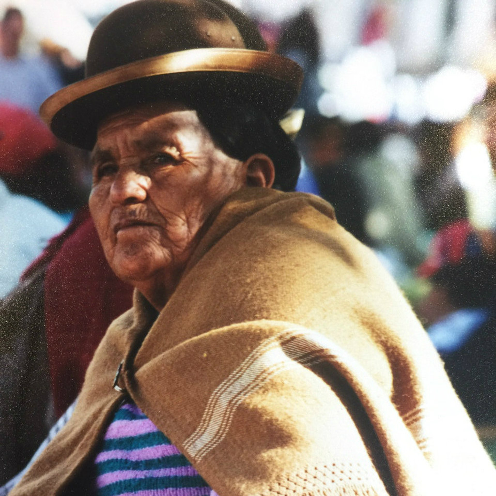 Bolivian Woman in La Paz with Bowler Hat Cholita