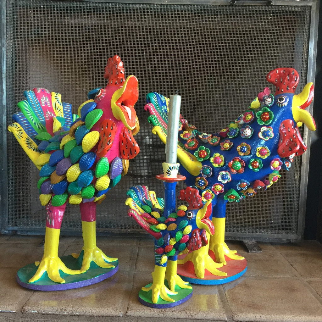 Ceramic Singing Roosters of Mexico, hand sculptured clay