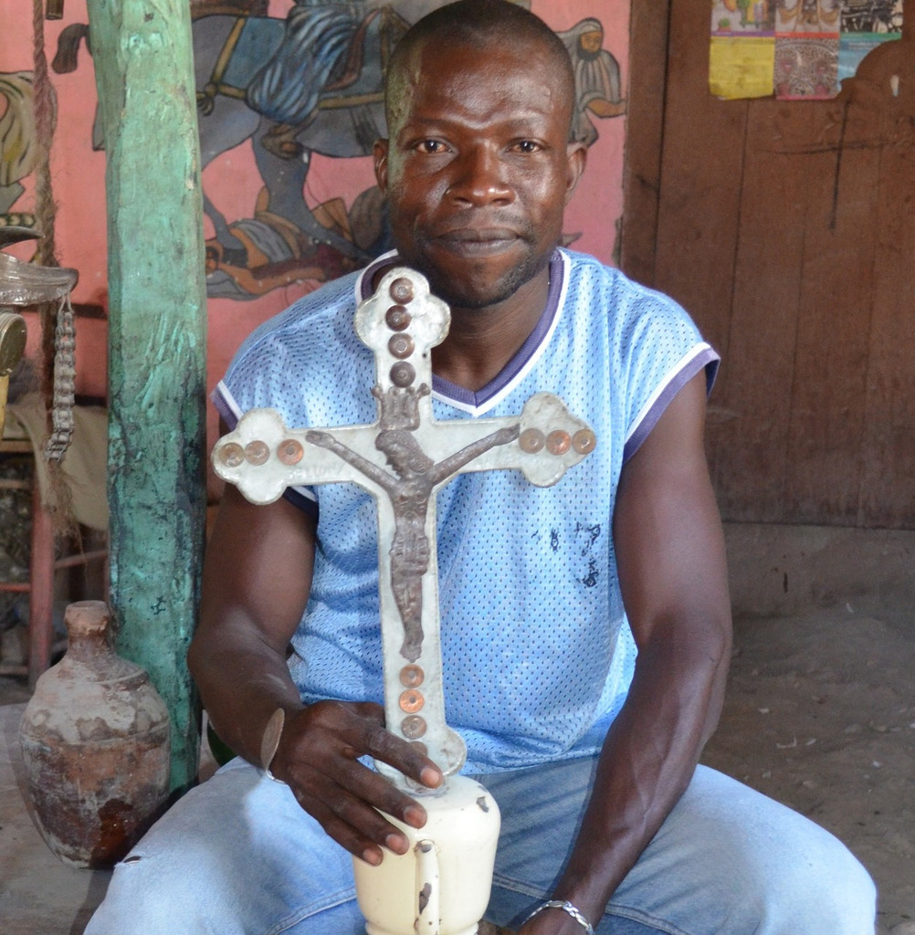 Up-cycled Haiti metal Cross with Christ