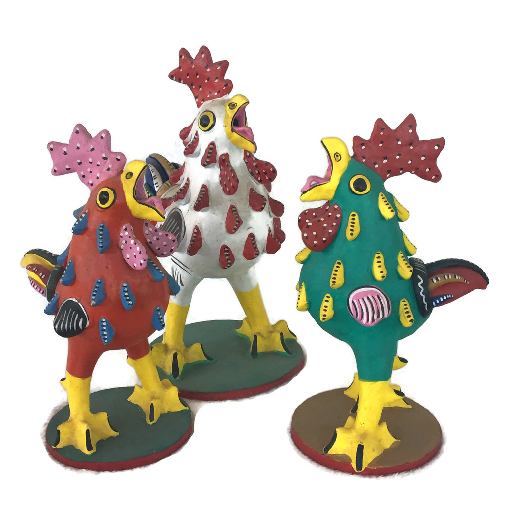 Group of Mexican Clay Roosters