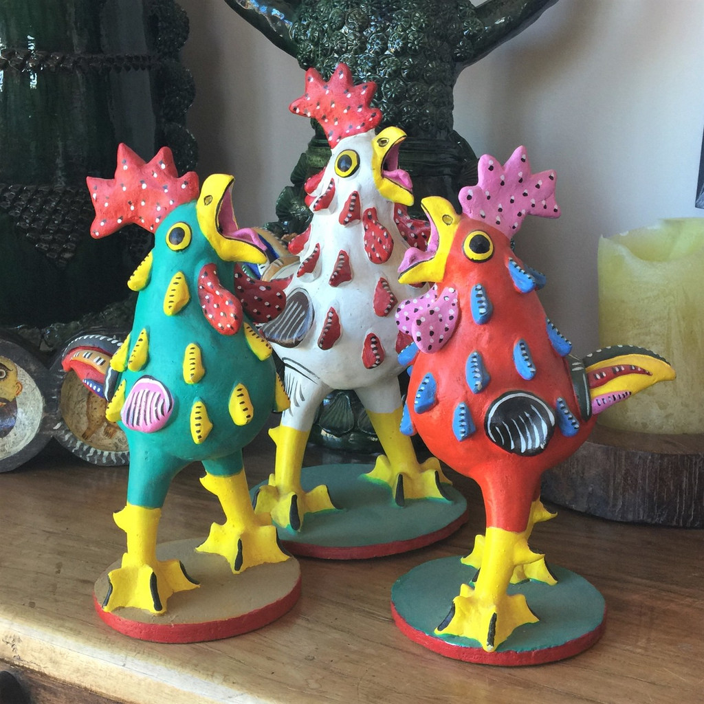 Whimsical Singing Mexican Roosters by J J L M Juan Jose Luis Medrano