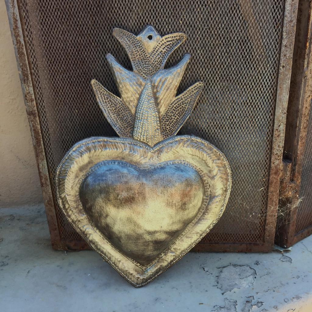 "Sacred Metal Heart, Handmade in Haiti, Inspirational Wall Decor 7"" x 9"""