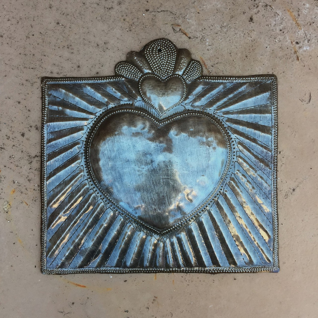 """Squared Milagro Heart, Handmade in Haiti from recycled oil drums, Metal Wall Art, Fairtrade 9"""" x 9"""""""