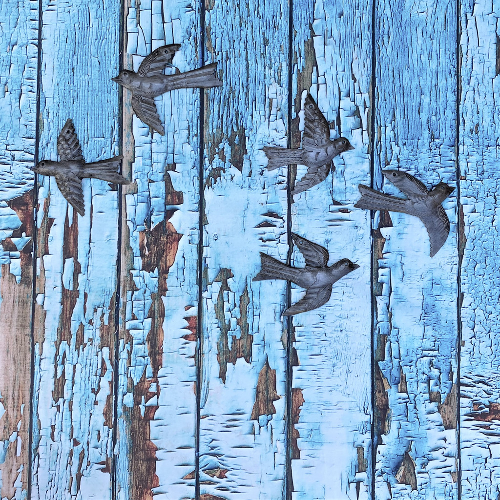 Haitian Recycled Metal Drum Wall Art Set of 5 Mini Birds Flying 4x5 Inches