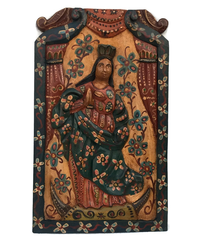 "Virgin Mary Religious Hand Carved Solid Wood Accent Panel, Wall Art 11.5"" x 19.25"""
