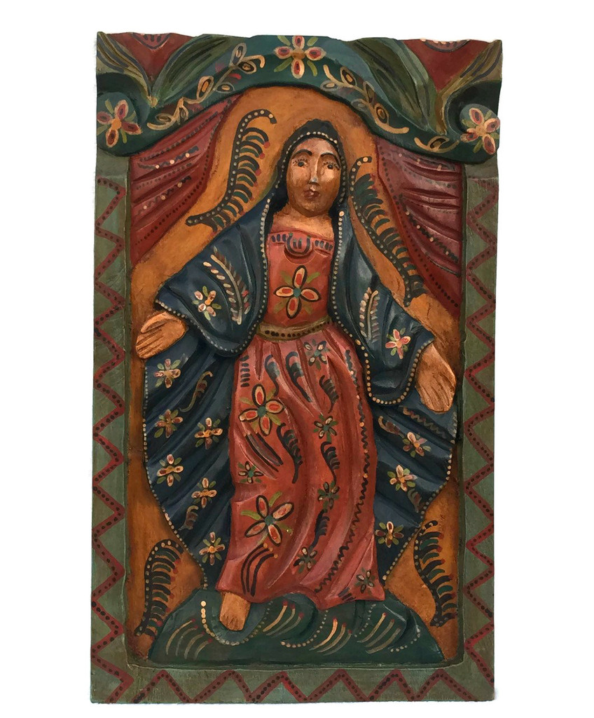 """Virgin Mary Hand Carved Solid Wood Decorative Panel, Wall Art 11.5"""" x 19.25"""""""