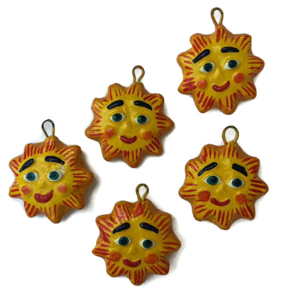 hand painted sun beads , Guatemala