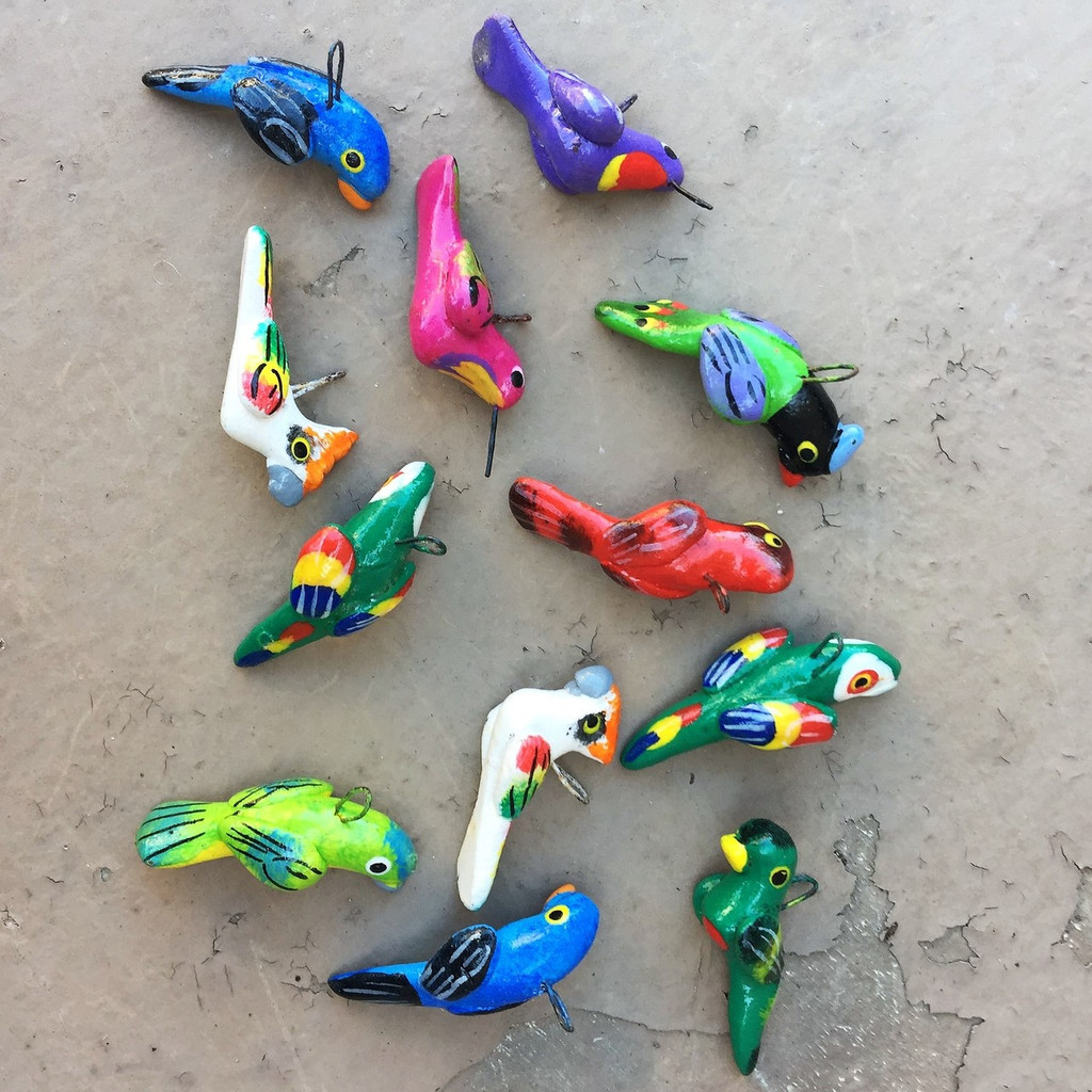 hand painted and hand sculpted clay beads from Guatemala Birds