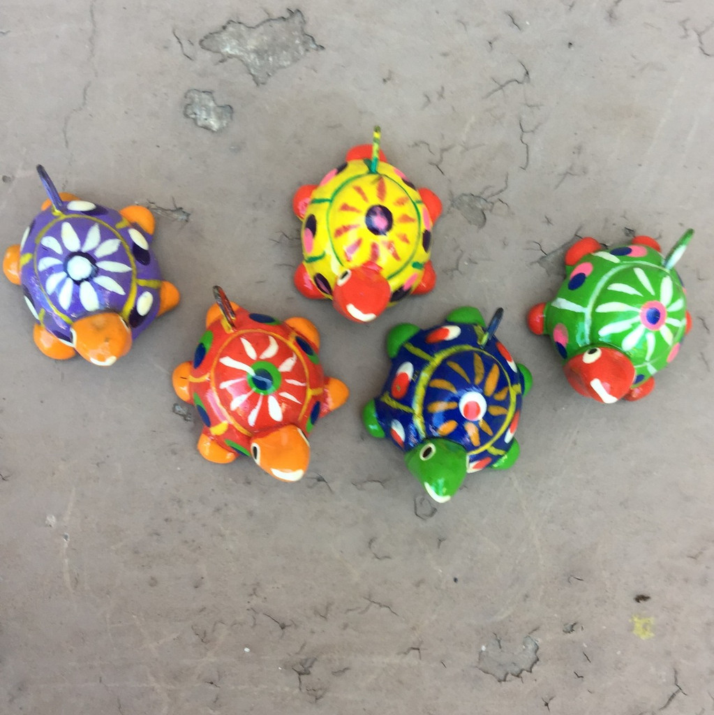 Colorful hand painted Turtle Beads and Charms  from Guatemala