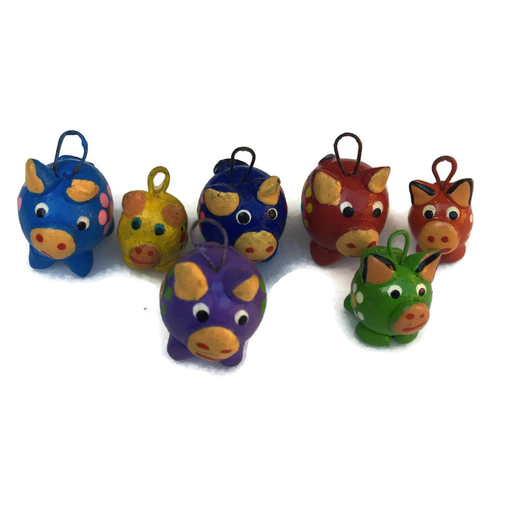 Pigs,Bright hand painted and hand sculpted clay beads from Guatemala
