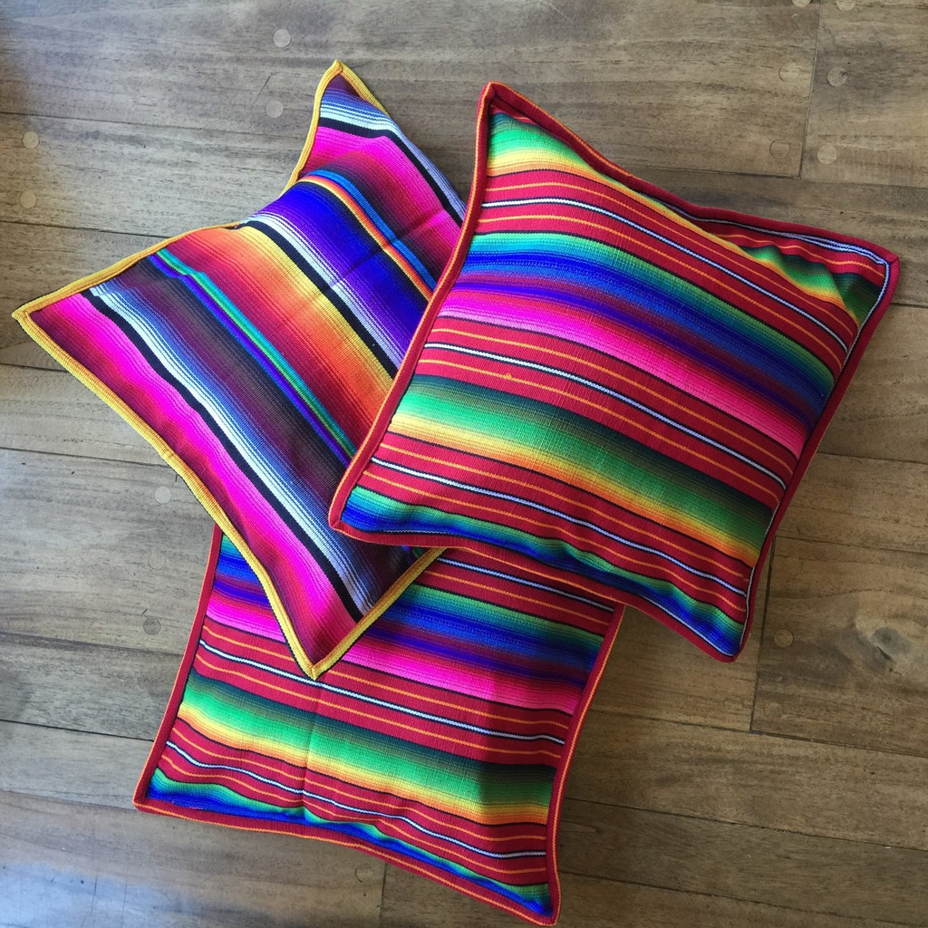 Hand Woven Brightly Colorful Cushion Covers Guatemala, Mexican Inspired Colors