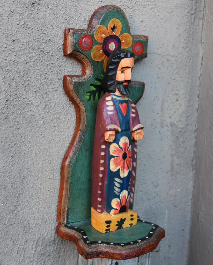 Sacred Heart of Jesus hand carved Nicho Guatemala