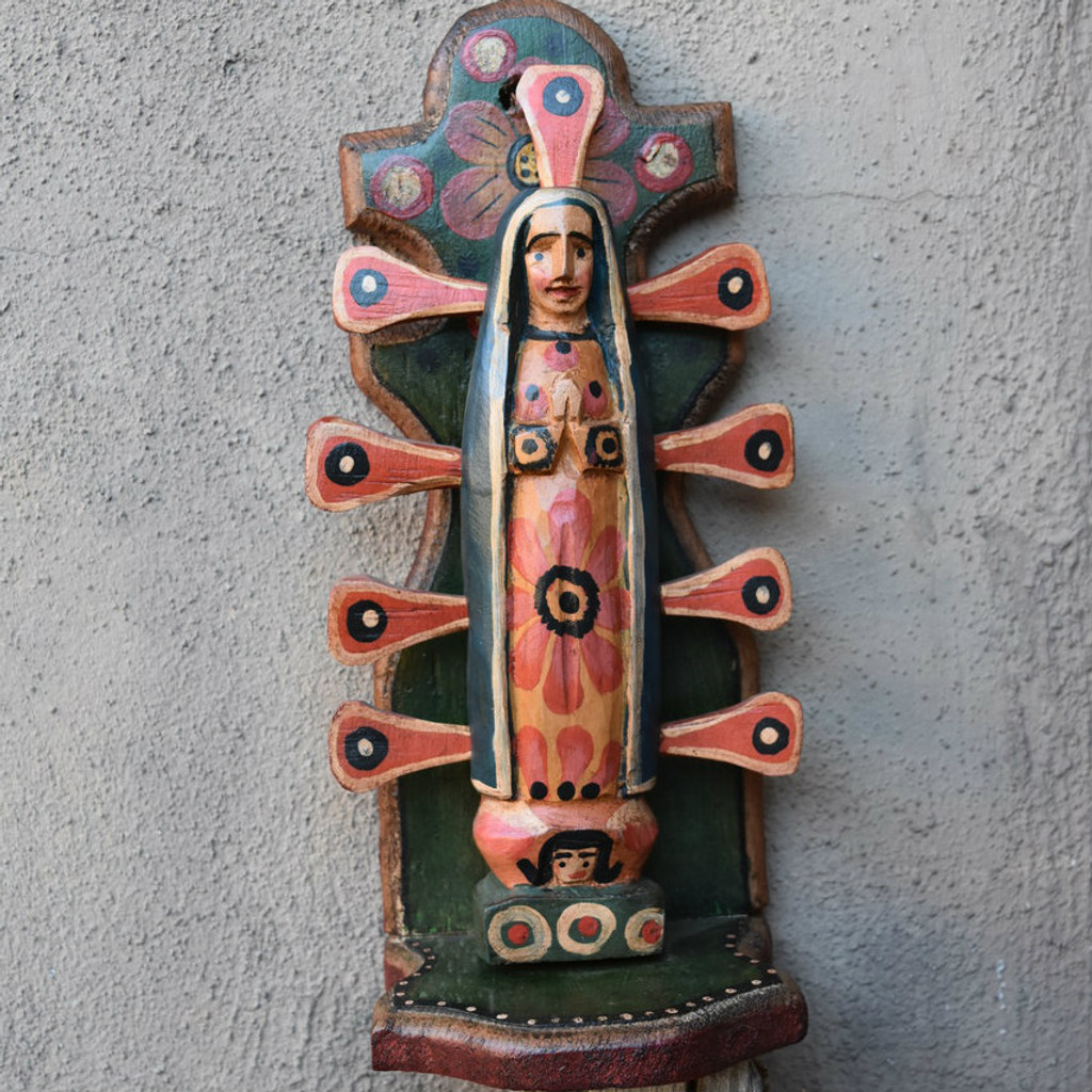 hand carved Santo Guatemala, Our Lady of Guadalupe.