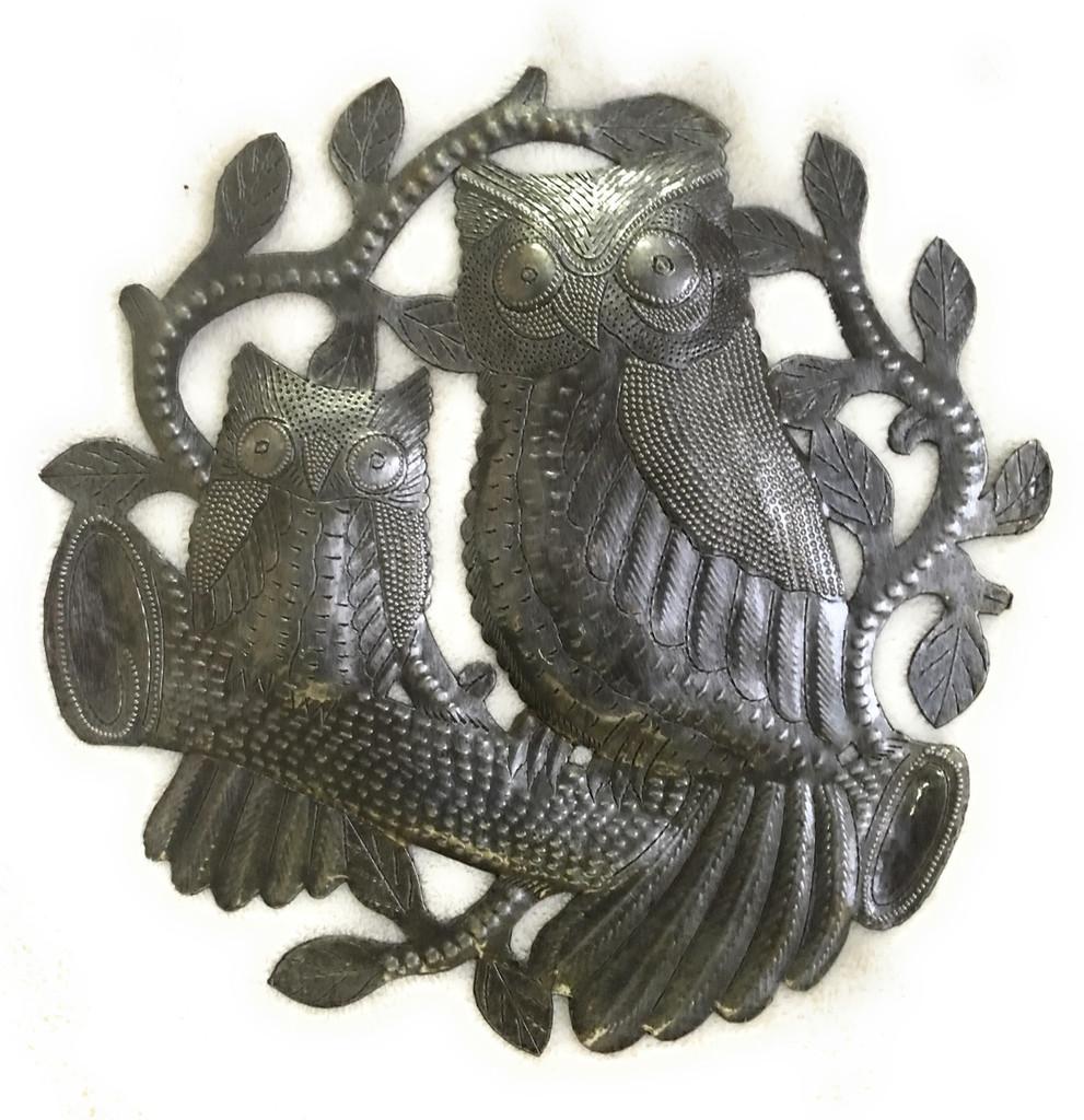 "Owls Metal Wall Art, Handmade in Haiti, Steel Drum Decor 11"" x 11"""