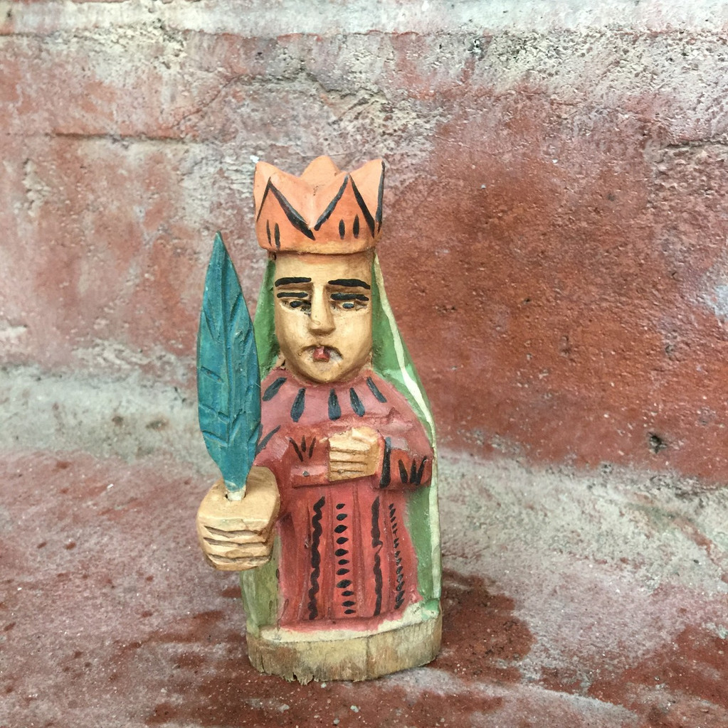 "Our Lady of Guadalupe, Mini Artisan Crafted Wooden Saints  5"" x 2"" x 1.5"""