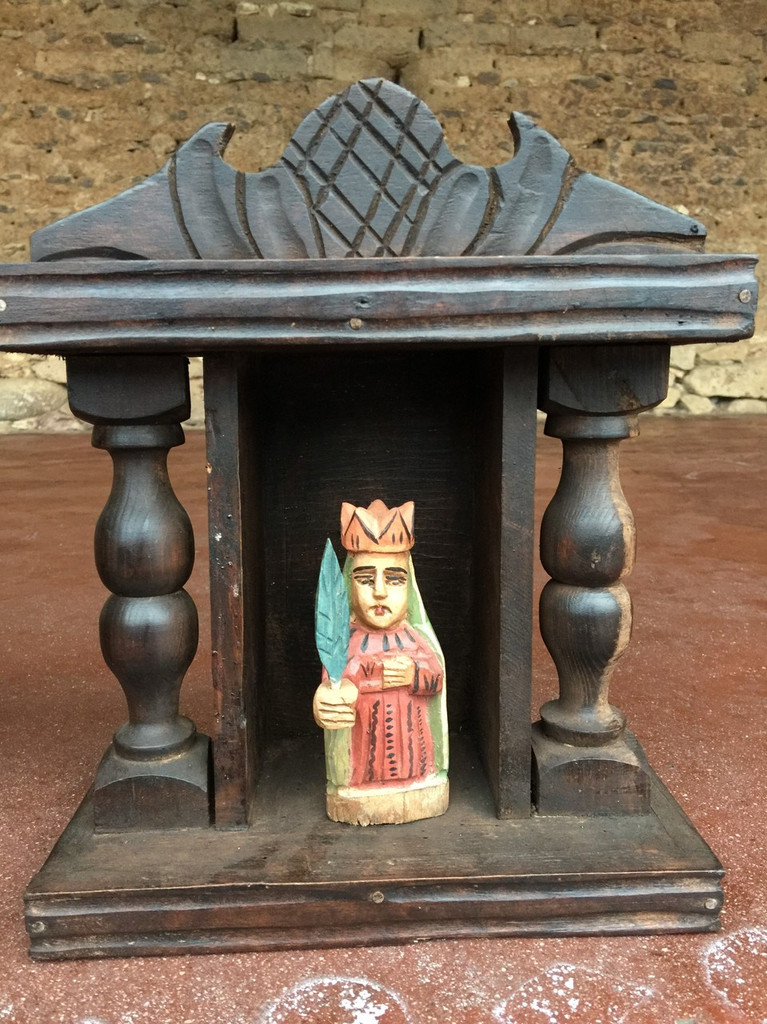 Our Lady of Guadalupe, Mini Artisan Crafted Wooden Saints  in nicho