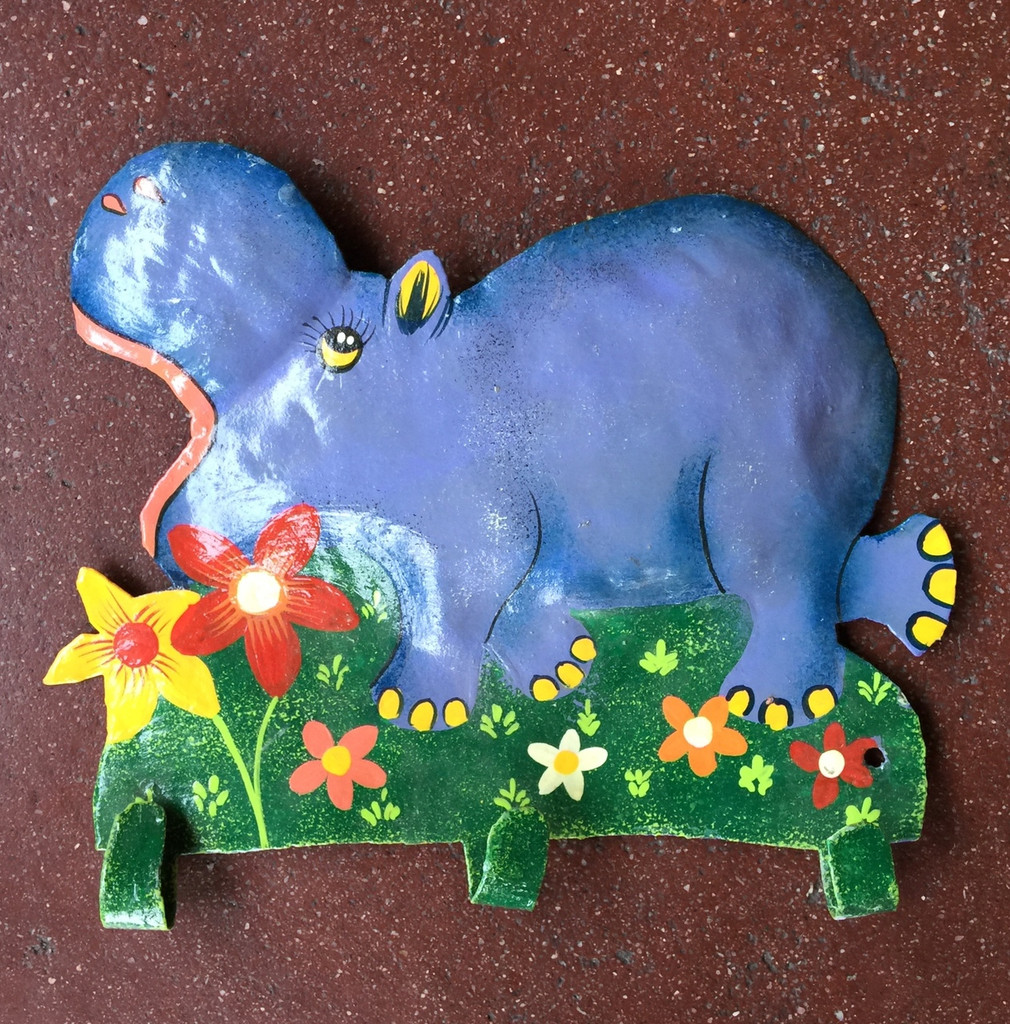 Hand painted Hippo wall hook
