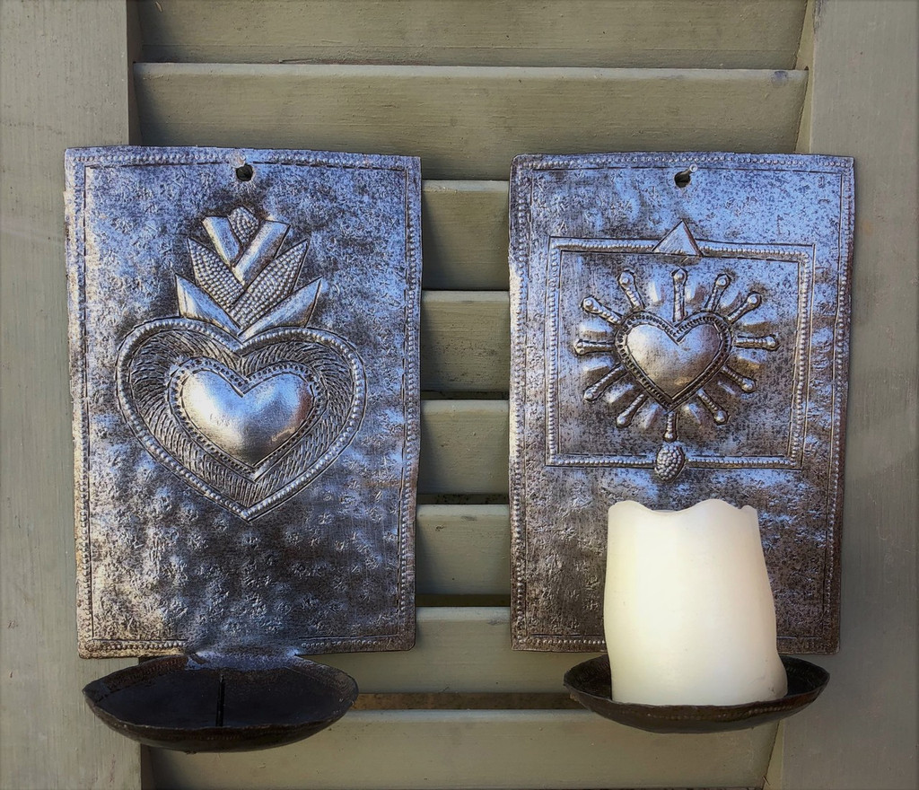 "New Metal Heart Wall Sconce Candle Holder, ""Milagros"" design Crafted in Haiti 4"" x 6"" x 3"" (candles not included)"