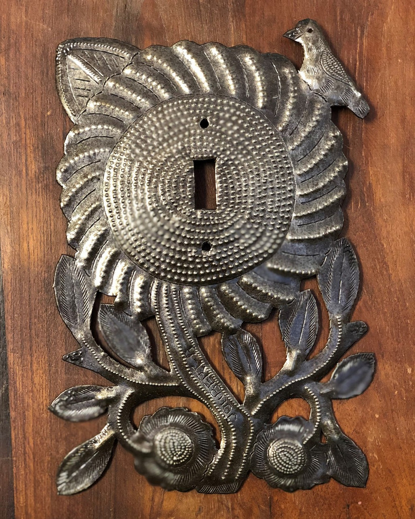 Electrical Plate Cover, Metal Sunflower Switch Handmade From Recycle Oil Drum