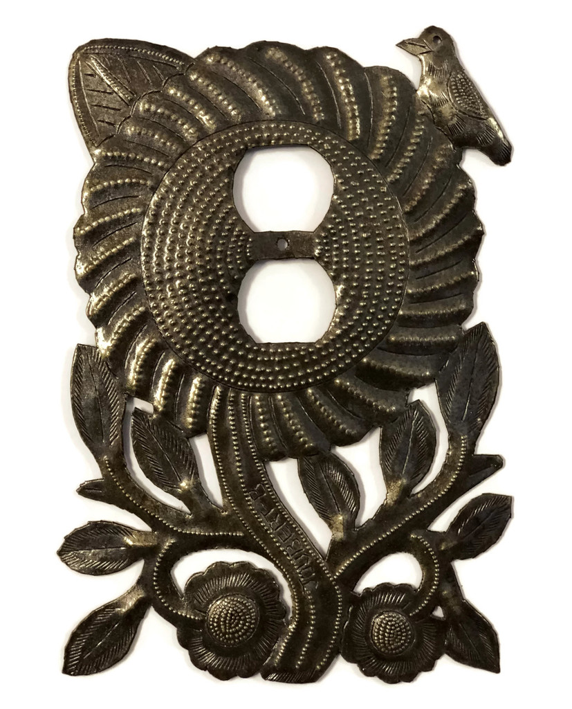 Electrical Plate Cover, Metal Sunflower Handmade From Recycle Oil Drum S