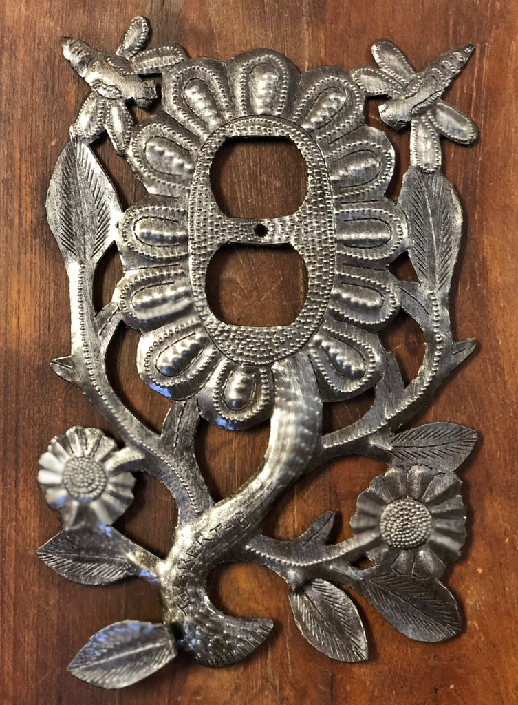 "Folk Art Flower Switch Plate Cover, Dragonflies, Recycled Metal Made in Haiti, 5.5"" x 9"""