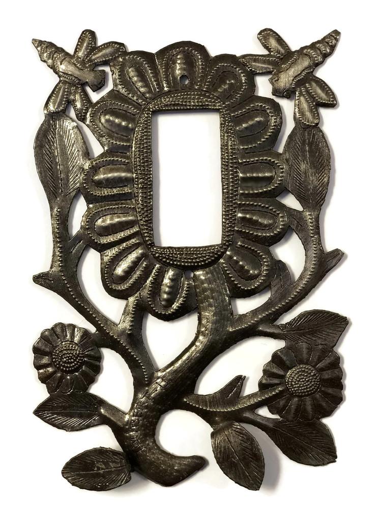 "Folk Art Flower Rocker Plate Cover, Dragonflies, Recycled Metal Made in Haiti, 5.5"" x 9"""