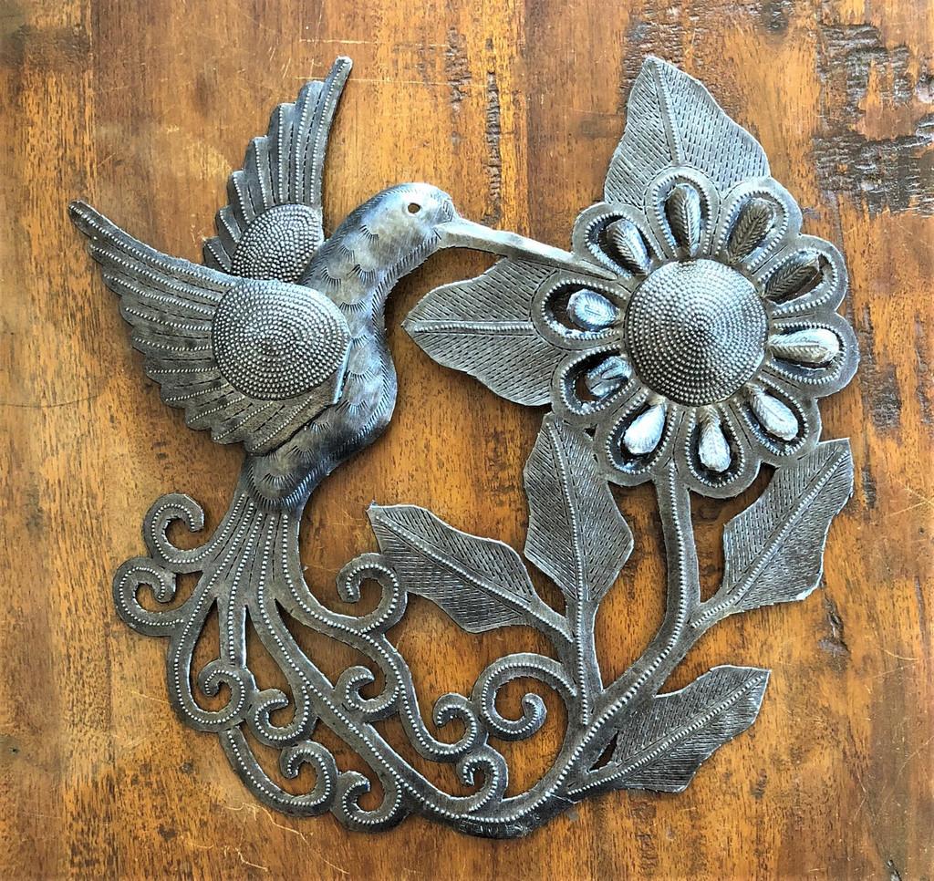 """Hummingbird feeding on the Bloom, Handmade Garden Metal Decor, Indoor and Outdoor Wall Hanging, Haiti Workmanship 11"""" x 11"""""""