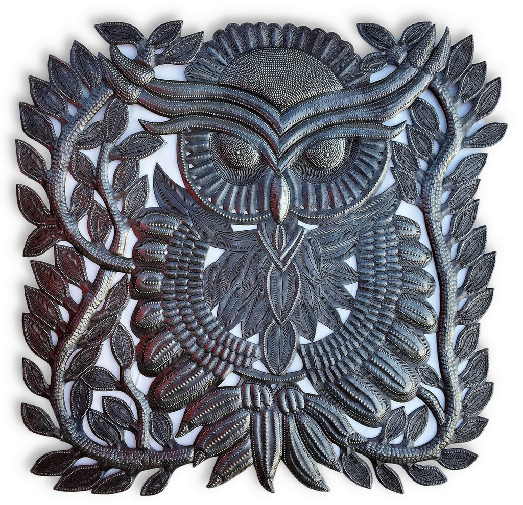 "Metal Owl Wall Decor, Quality and Detail Craftsmanship from Haiti 17""x 17.5"""
