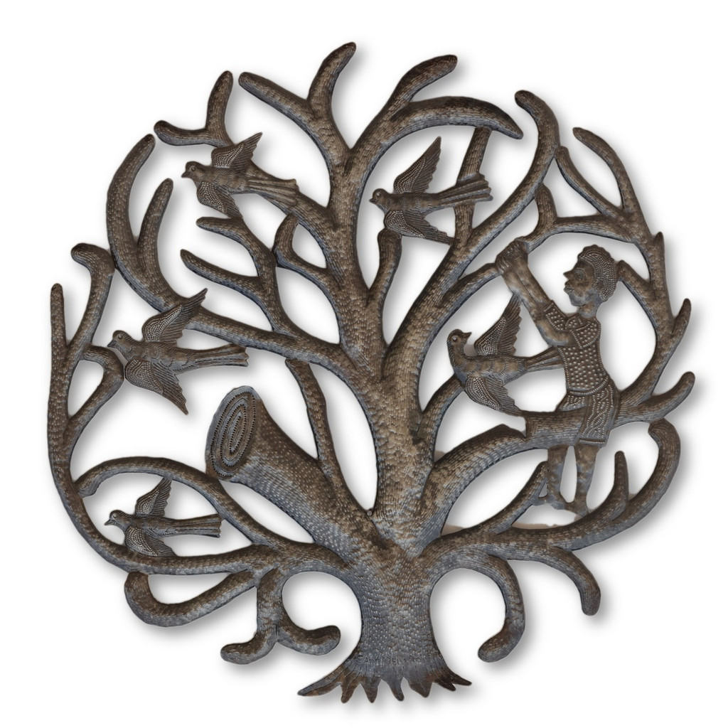 Boy Climbing Tree, Haitian Metal, Recycled Metal, Sustainable Living, Fair Trade, One-of-a-Kind, Help Haiti