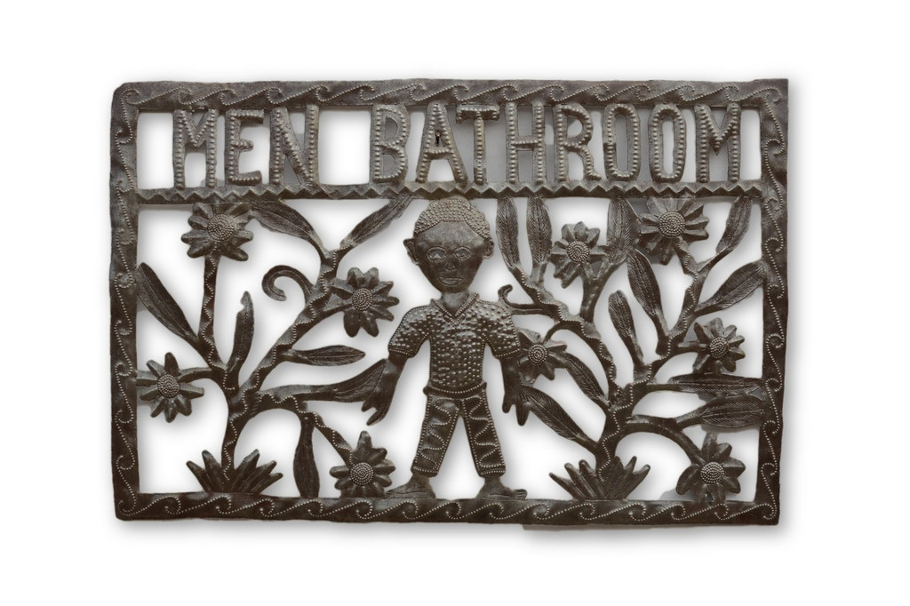 Men Bathroom Sign, Bathroom Sign, Office Decor, Haiti Metal, Fair Trade, Sustainable, Help Haiti