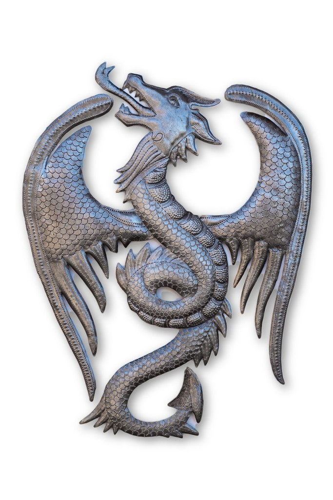 Powerful Dragon, Power, Mystical, Flying, Creature, One-of-a-Kind, Limited Edition, Unique, Sustainable, Eco-Friendly, Recycle, Recyclable, Oil Barrels, Oil Drums, Steel, Metal, Handcrafted, Handmade, Fair Trade, Fight Poverty, Help Haiti