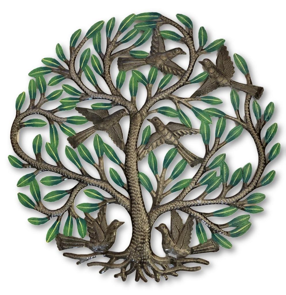 "Garden Tree Painted, Metal Decor Plaque, Tree of life, Handmade in Haiti 23"""