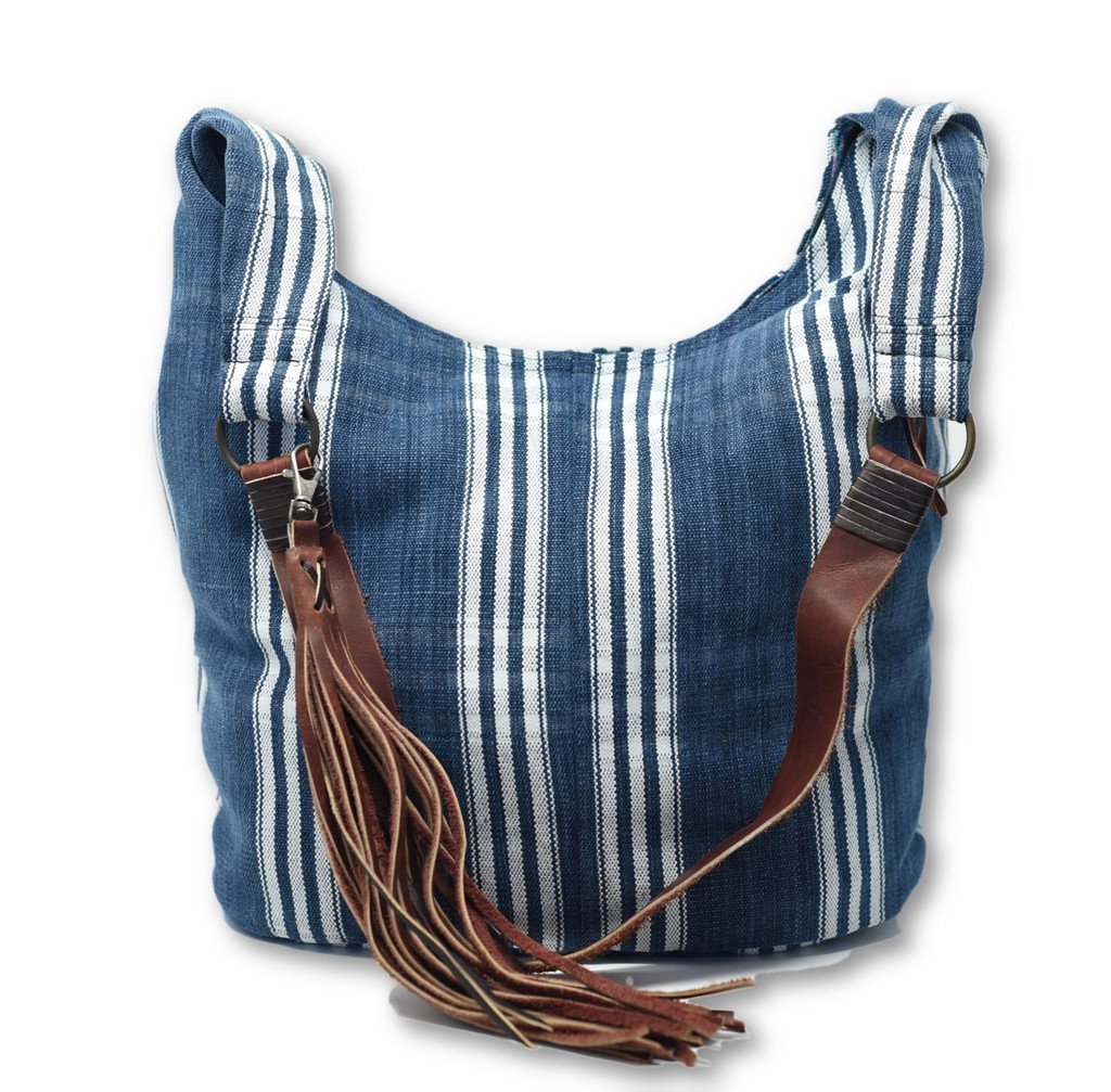 Handmade Purses from Guatemala, Long leather Straps, Blue Color Jean and white stripes, Over the Shoulder, Recycled textile, Handcrafted