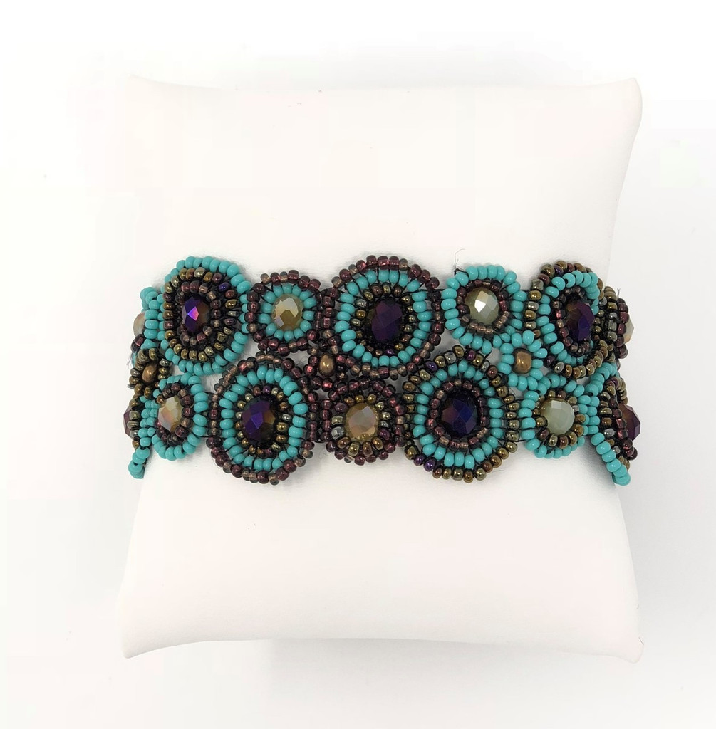 """Mayan Arts Handmade, fair Trade Bracelet Made with Seed Beads from Guatemala, Turquoise, and Purple Color Beads Magnetic Clasp 1.25"""" X 7"""" (Turquoise)"""