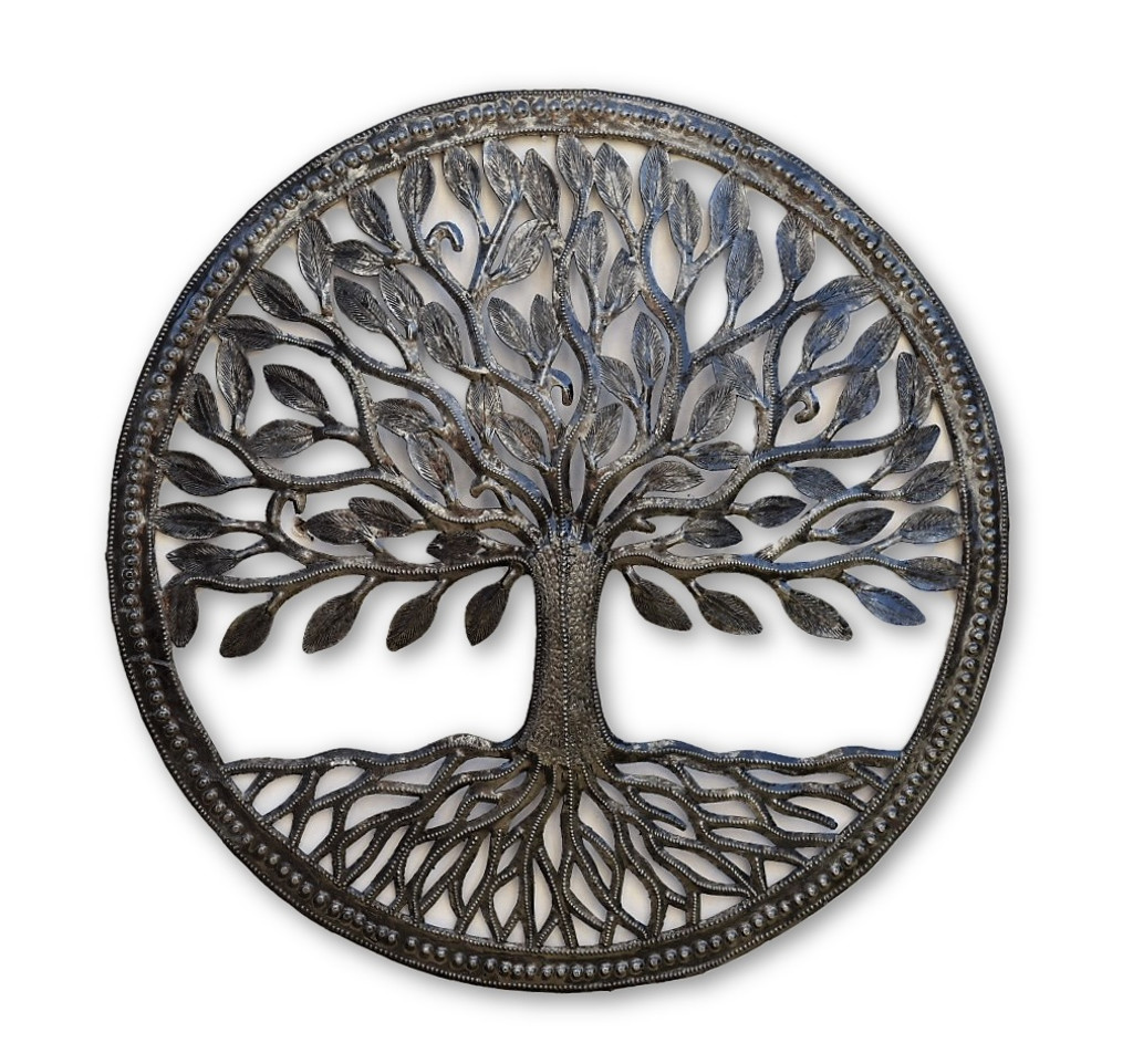 Small Tree of Life, Recycle Garden Tree, Framed with Roots 17.25""