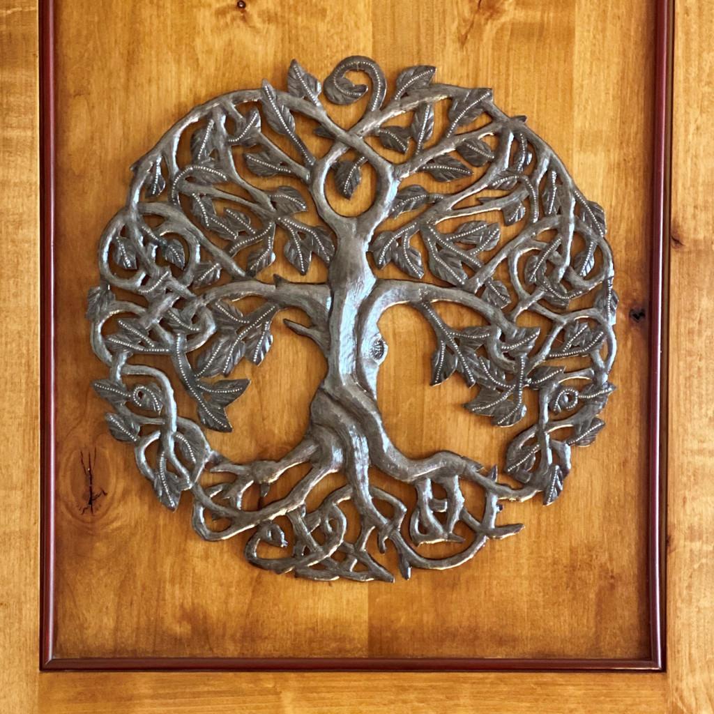 Celtic Tree of Life, Hand Made Recycled Metal Art Haiti
