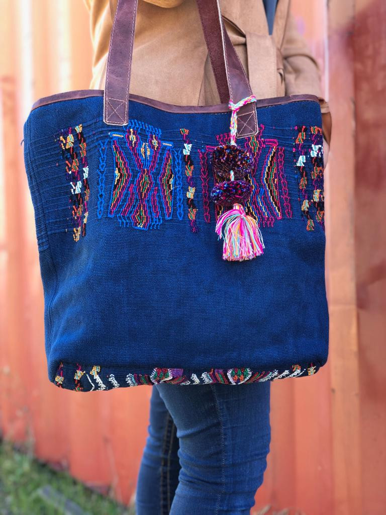 Handbag Made from Huipil Blouse, Geometric Motifs, Roomy Shoulder Bag, Handmade from Recycled Hui-Pile Blouse, Rich Colored Handbags (Style 2)