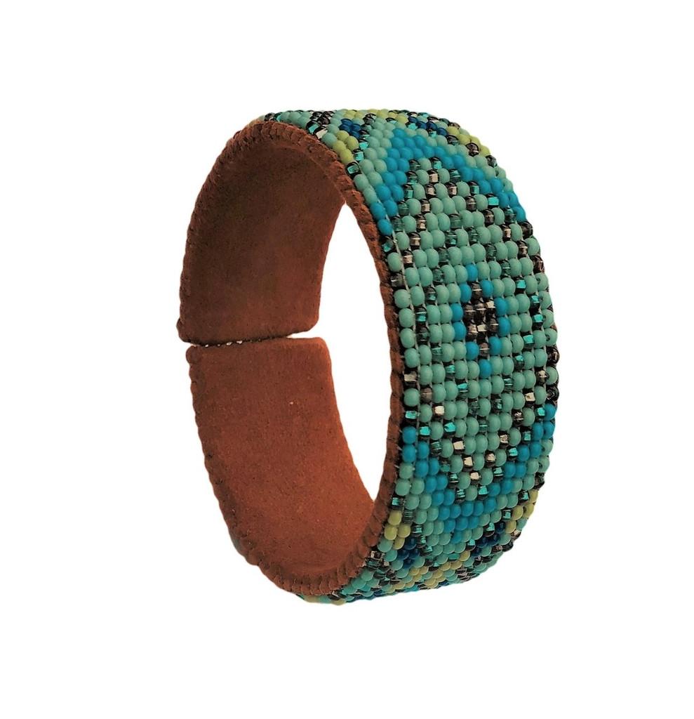 Handmade Turquoise Beaded Cuff Bracelet, Fashion Jewelry, Boho Chic, Western, Cowgirl