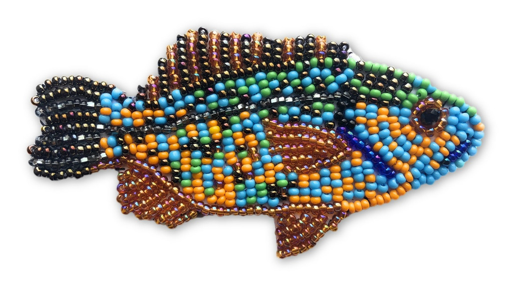 """Beaded Fish Collection, Multi-Color, with pin Attached, Small Figurine, Brooch, Handmade in Guatemala 2.75"""""""