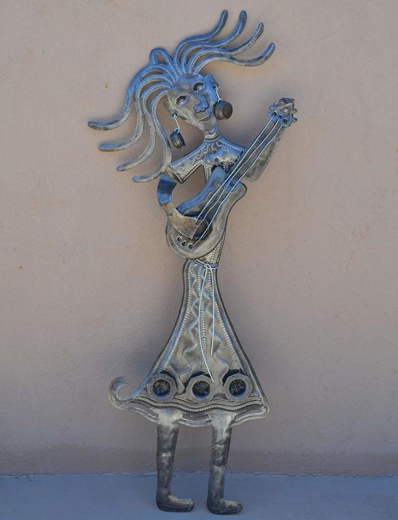 """Guitar Girl Recycled Metal Art Handmade in Haiti, 14"""" X 28"""""""