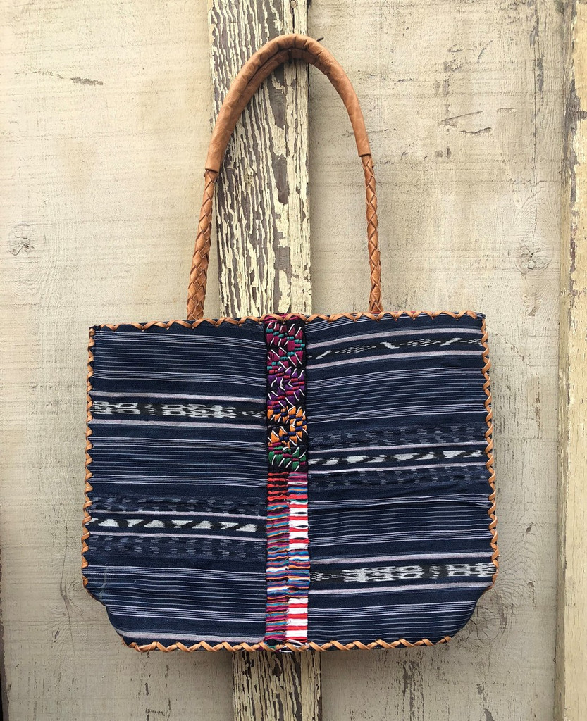Huipile & Leather Tote Bag, Embroidered Recycled Ethnic Blouse, Handmade Purses from Guatemala