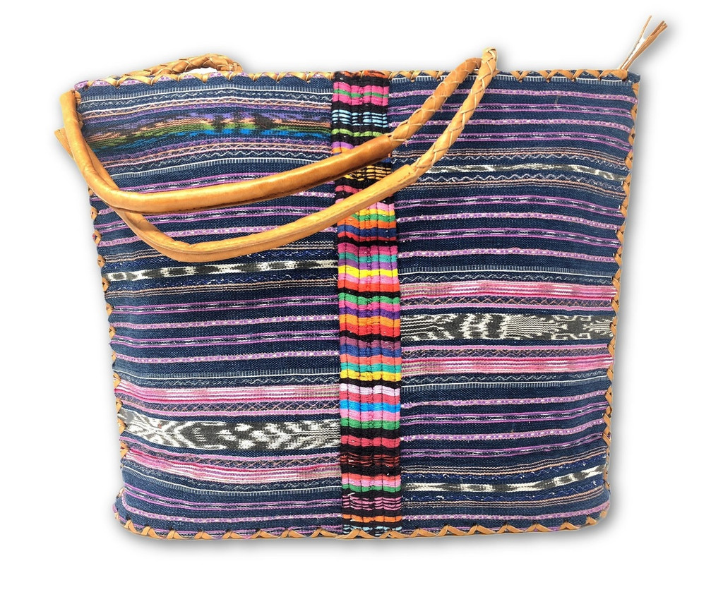 Huipile & Leather Tote Bag, Embroidered Recycled Ethnic Blouse, Jean Look, Cowgirl, Western, Pink, Handmade Purses from Guatemala (GUAT44) (view)