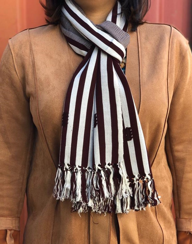 Hand Woven Scarf from Guatemala, Mayan Arts Scarves, Handmade, Cultural Element Fashion Scarf, Maroon