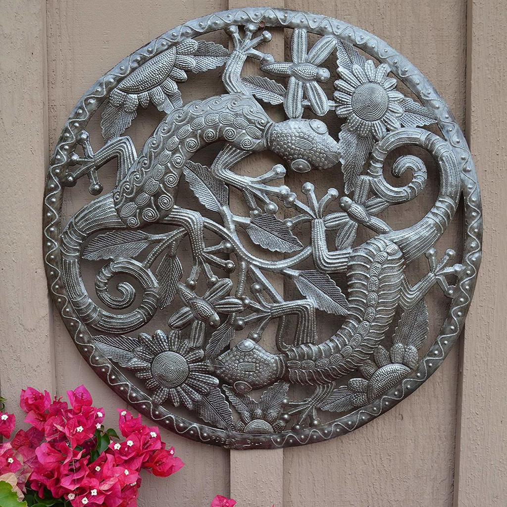 """Geckos in the Sunflowers Garden Art Made in Haiti from Recycled Metal 23"""" X 23"""""""