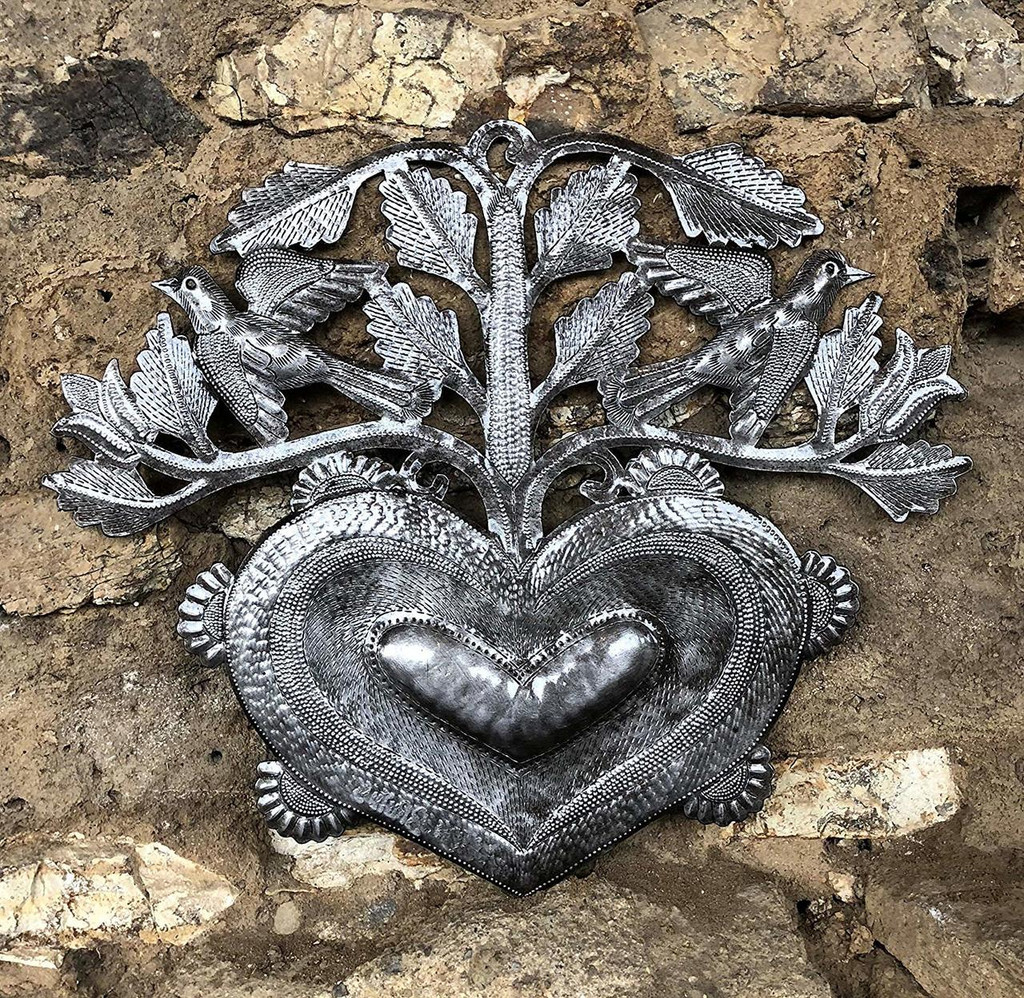 "Small Heart Wall Art, Gift Giving, Metal Flowers and Birds, Love, Friendship, Handmade in Haiti, Accent Home Decor 12"" x 10"""